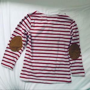 Kids Red & White Striped Shirt with Elbow Patches